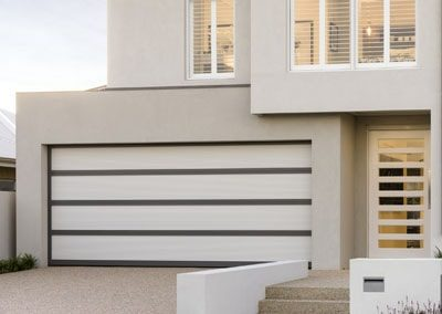 Inspirations® garage door – aluminium frame with white polycarbonate multiwall inserts