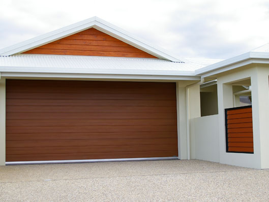 Decowood Garage Door Glacier Profile Iron Bark Colour