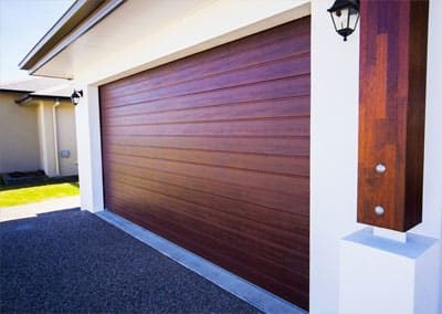 DecoWood® Garage Door – Slimline profile, Jarrah colour