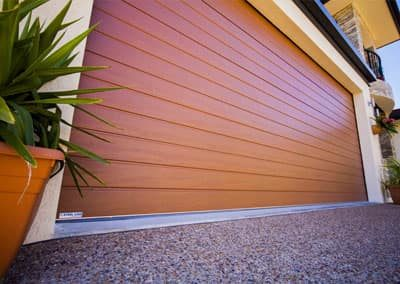 DecoWood® Garage Door – Slimline profile, Iron Bark colour