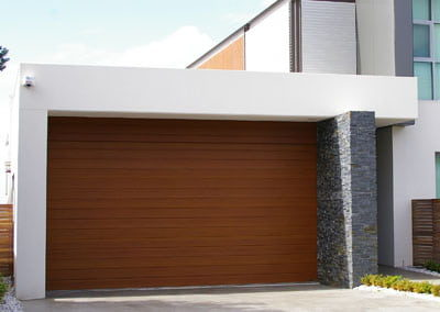 DecoWood® Garage Door – Slimline profile, Western Red Cedar colour