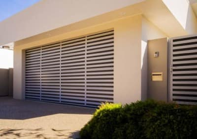 slatted sectional garage door