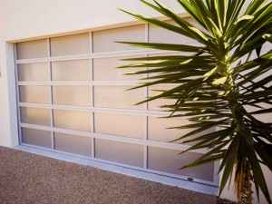 Inspirations garage door - aluminium frame with white polycarbonate multiwall inserts