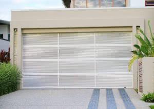 A garage door with rectangle panels