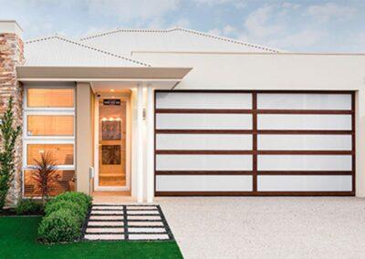 custom garage door with aluminium frame and acrylic inserts