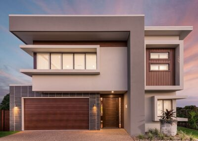 timber look garage door with sleek look on a modern two story home