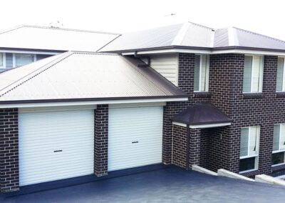 2 car garage with white colorbond doors